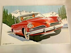 Art Fitzpatrick Painting And Prototype For Us Stamp And03905 Gm Studebaker