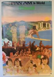Original Vintage Airlines Poster - Pan Am Hawaii - 1973 -  28 X 42 Inch