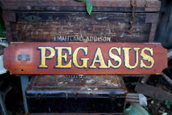 """Rare Vintage Nautical Pegasus Boat Ship Sign With Perko Brass Tag 40"""" By 7⅝"""""""