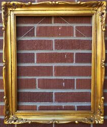 Vintage Luminous Gilt Gold Carved Wood Picture Frame 16 X 20 In. Fit C1980-90s
