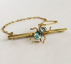 Antique Victorian 9ct Gold - Aquamarine Paste - Spider Insect Brooch And Box