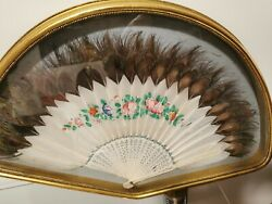 Antique Early 20th Century Chinese Peacock Feather Fan In The Wood Frame