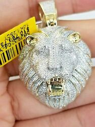 Real Diamond Pendant King Lion Head Charm For Mens 10k Yellow Gold Genuine Solid