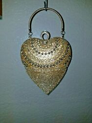 Heart Shaped Purse Gold Clear Rhinestone Evening Clutch Party Bag $41.00
