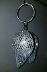 Round Ball Tassel Silver Clutch Purses For Women Evening Bags Party Rhinestone $39.00