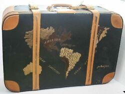 Vintage 1970s Jean Claude Jitrois Map Of The World Leather Suitcase Buckle Strap