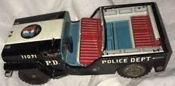 Tin Chromolithograph Toy Police Dept. Jeep 11071 Made In Japan Red Used