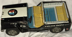 Tin Chromolithograph Toy Police Dept. Jeep 11071 Made In Japan Yellow Used