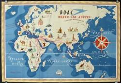 World Boac Airlines / B.o.a.c World Air Routes Large Double-sided Poster 1949