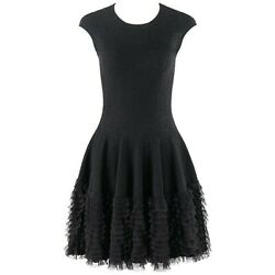 Alexander Mcqueen A/w 2008 Floral Lace Knit Fit And Flare Ruffle Layer Skirt Dress
