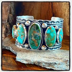 Navajo Guy Hoskie Royston Turquoise Sterling Row Cuff Signed
