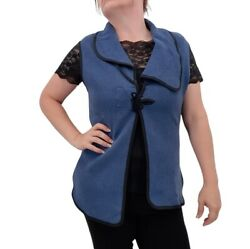 Krisztina Nagy Designer Collection Tie Front Vest Blue/black Size M