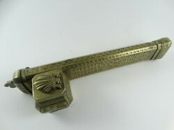 Antique Travel Ottoman Persian Etched Brass Inkwell And Pen Holder 8.6 Long