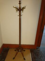 Antique Oak Hall Tree Claw Feet Original Finish Brass Hooks Look At The Detail