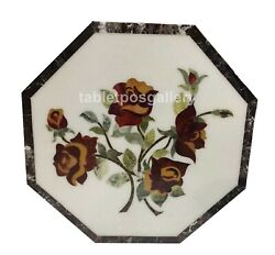 24 Marble Amazing Coffee Table Top Jasper Floral Inlay Interior Home Decor W646