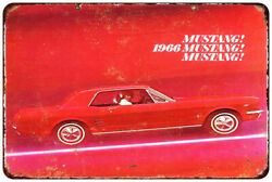 1966 Ford Mustang Vintage Look Reproduction Metal Sign 8 X 12