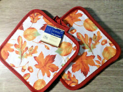 Home Collection Foliage Themed Pot Holders Set of 2 7x7 inches