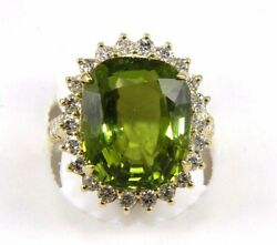 Natural Oval Green Peridot And Diamond Halo Solitaire Ring 14k Yellow Gold 14.41ct