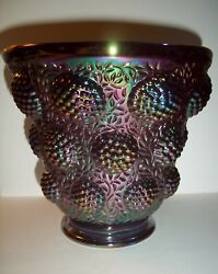 Fenton Art Glass Ruby Red Carnival Raspberry Cabochon Vase From Verlys Mold