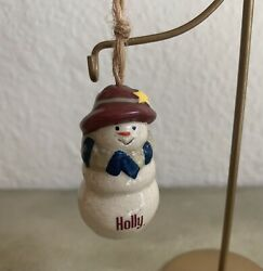 Holly Christmas Tree Ornament SNOWMAN Ceramic Personalized Name Ganz
