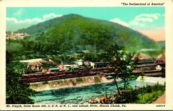 Vtg Postcard Mauch Chunk Pa Mt Pisgah State Route 309 Crr Of Nj And Leigh River