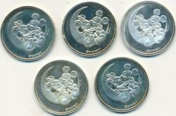 Lot 5 Mickey And Minnie Mouse-on Crescent Moon 999 Silver Rounds-8 Grams Each