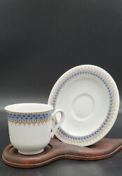 Vintage Vohenstrauss Gold And Blue China Tea Cup And Saucer W/stand