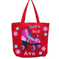 Unicorn Roller Skates Kids Tote Bag Girls Book Bag Canvas Carryall Personalized $22.50