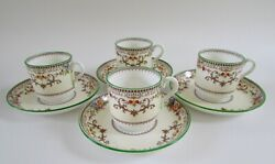 Minton Shaftesbury Green Floral Scroll Footed Demitasse Cup And Saucer Set 4