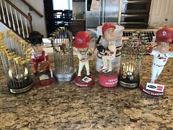 4 Cardinals Bobbleheads And 3 Trophies And 1 Beer Stien