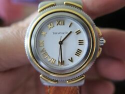 And Co Unisex Watch 18k Yellow Gold And Stainless Steel With Ostrich Band
