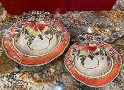 New Fitz And Floyd Enchanted Holiday 2 Serving Bowl Set Christmas Fruit Boxes