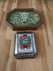 Lot Of 2 Vintage Non Lighted Heileman's Old Style Beer Crystal Signs