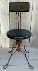 Antique Victorian Tonk Chicago Adjustable Japanned Iron Piano Chair Stool 1900