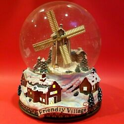 Johnson Brothers Friendly Village 3d Windmill Light Up Musical Water Snow Globe