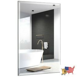 Mirrors Wall Mounted 24quot; X 36quot; Rectangle Wall Mounted Bathroom Beveled Mirror