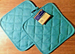 Home Collection Teal Pot Holders Set of 2 7x7 100% Cotton