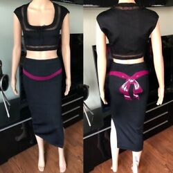 Azzedine Alaia 1990and039s Vintage Bow Skirt And Crop Top Ensemble 2 Piece Set Size S