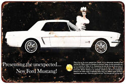 1965 Ford Mustang 2 Vintage Look Reproduction Metal Sign 8 X 12