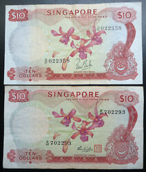 2 Singapore 10 / Ten Dollars Orchid Flower Series Banknotes 1967 1973 Notes