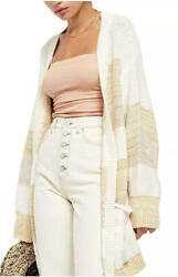 FREE PEOPLE Womens Southport Beach Striped Open Grains Combo Cardigan M Medium $59.99