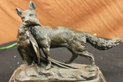 Huge Bronze Labrador Golden Retriever Hunting Dog And Bird Statue Sculpture Art