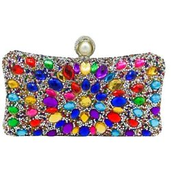 5X Multicolored Women Crystal Clutches Evening Bags Wedding Cocktail Party $149.99