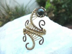 Goddess Wire Wrapped Adjustable Ring Serpentine Mineral Stone Bead Long 9 8 7