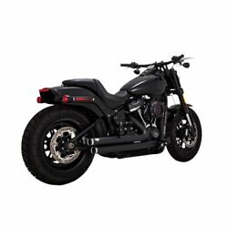 Vance And Hines Black Big Shots Staggered Exhaust For Harley Softail Flde 18-19