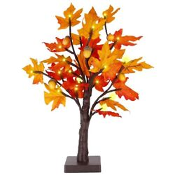 20xtabletop Lighted Maple Tree Battery Operated Thanksgiving Table Decoration