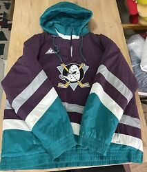 Anaheim Mighty Ducks Nhl Hockey Hooded Jacket Puffer Vintage 90's Embroidered Xl
