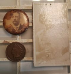 Teddy Roosevelt First Voters Club Pin Button 1904 Campaign Original Old Photo