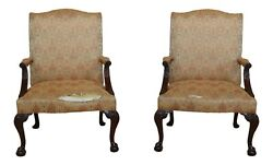 49414ec Pair Hickory Chair Co Ball And Claw Mahogany Library Chairs