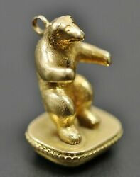 Wax Seal Stamp 19.5k Gold Bear And Bloodstone Intaglio Old English W Or M